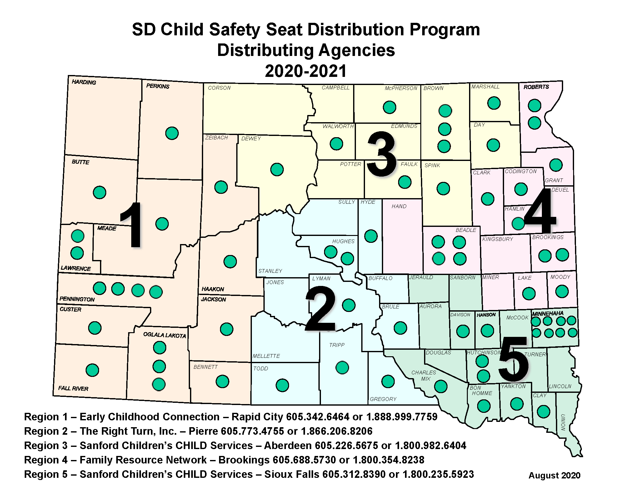 Map of Child Safety Seat Distribution